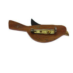 Vintage Jewelry - Vintage Wood Bird Brooch